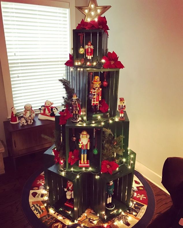 DIY Wooden Crate Cat-Proof Christmas Tree