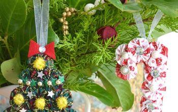create beautiful christmas ornaments using suffolk puffs yo yos