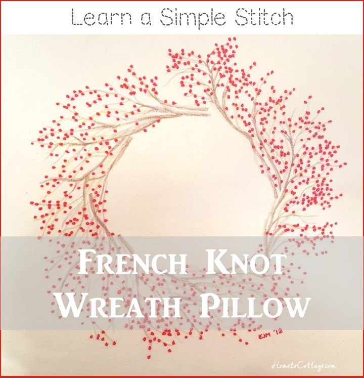 french knot wreath pillow tutorial