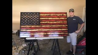 , This is Chris He s the very talented artist He s magic with wood