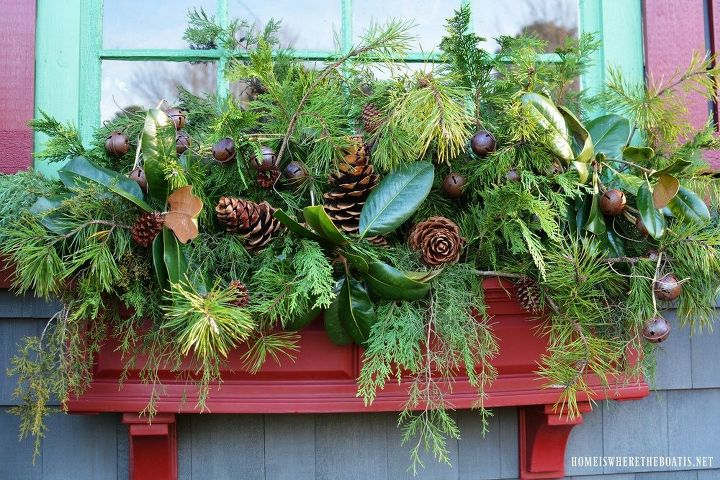 sprucing up window boxes with christmas greenery - Christmas Greenery