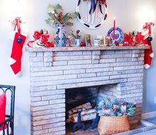 blue white mantel decor fall to christmas