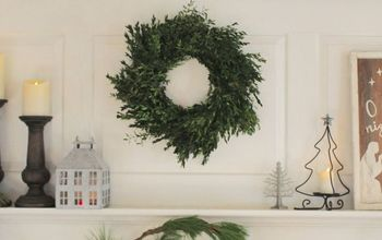 Green and White Christmas Mantel