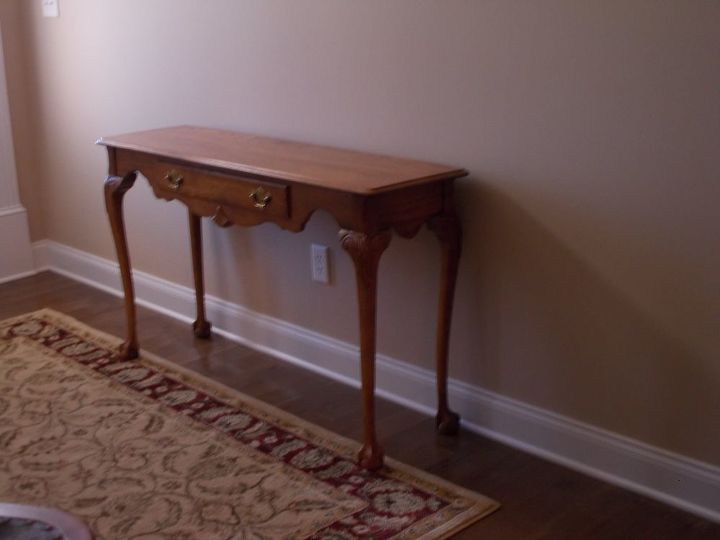 q what will work with this antique desk in my entrance hall