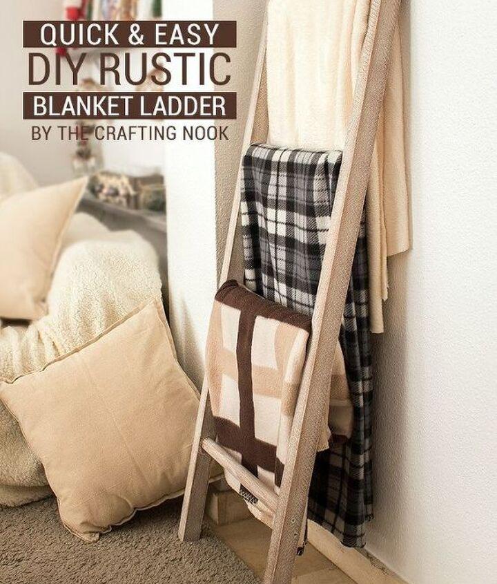 quick easy diy rustic blanket ladder