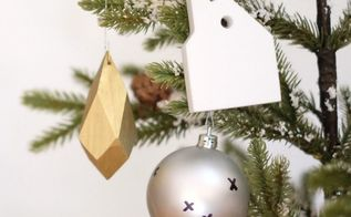 faceted gold wood ornaments