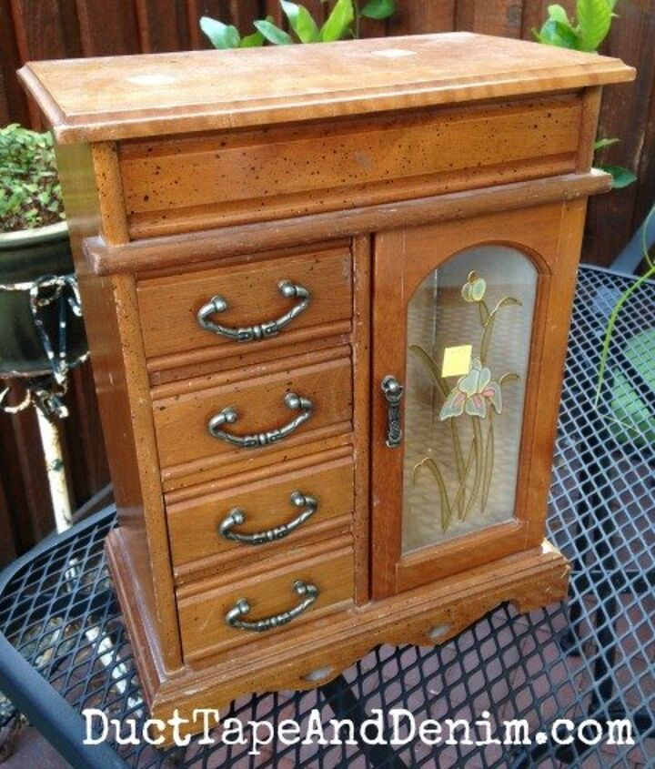 red jewelry cabinet a thrift store makeover