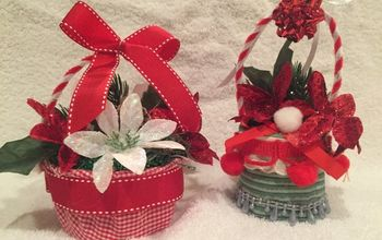 how to make bird s nest christmas ornaments from trash, Flower Baskets are Christmassy too