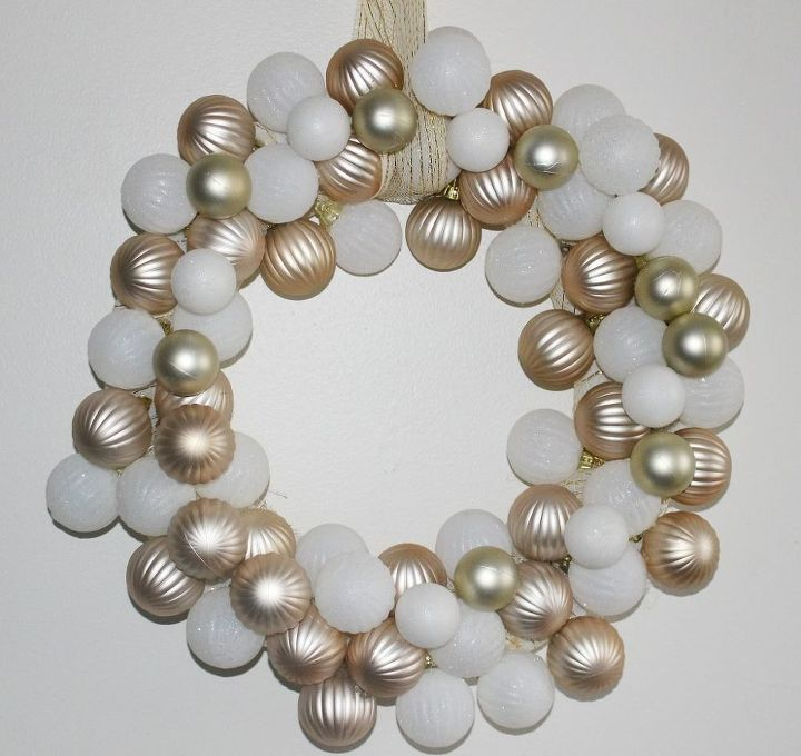 s 25 christmas wreath ideas you don t want to miss this year, Rose Gold White Ornament Wreath
