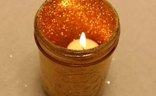 holiday candle glitter jars