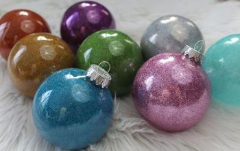 make diy glitter ornaments with pledge floor finish