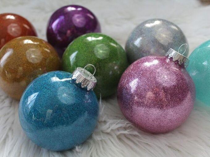 make diy glitter ornaments with pledge floor finish