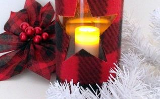 make a trendy plaid candle holder using items from the dollar store