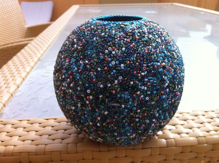 s these amazing vase ideas will blow your guests away, Adhere glass beads over glass