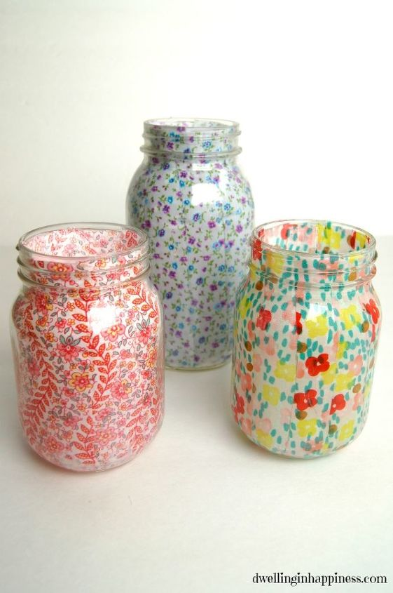 s these amazing vase ideas will blow your guests away, Cover mason jars in fabric