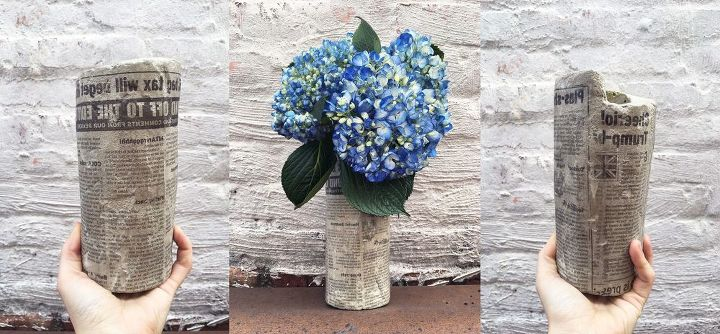 s these amazing vase ideas will blow your guests away, Cement a vase and cover in newspaper