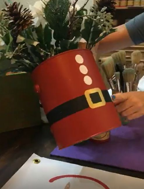 paint cans turned into cute holiday centerpieces