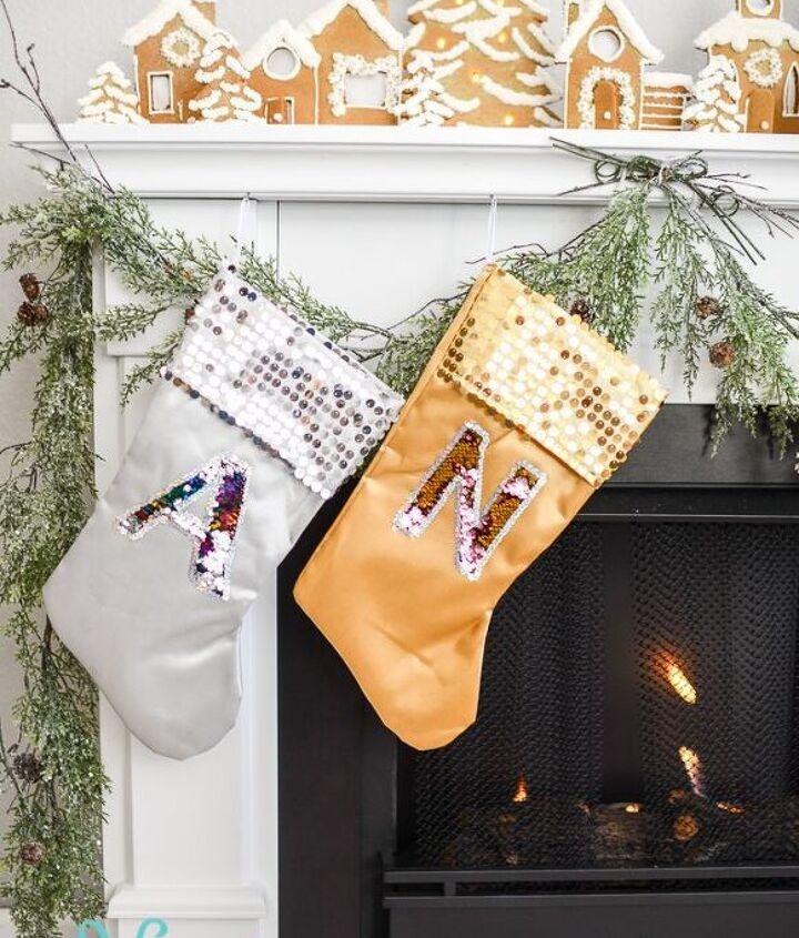 reversible mermaid sequin monogram christmas stockings