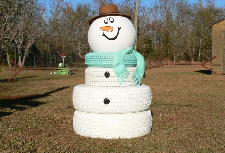 s 30 different ways to diy an adorable snowman this winter, Stack tires on top of each other