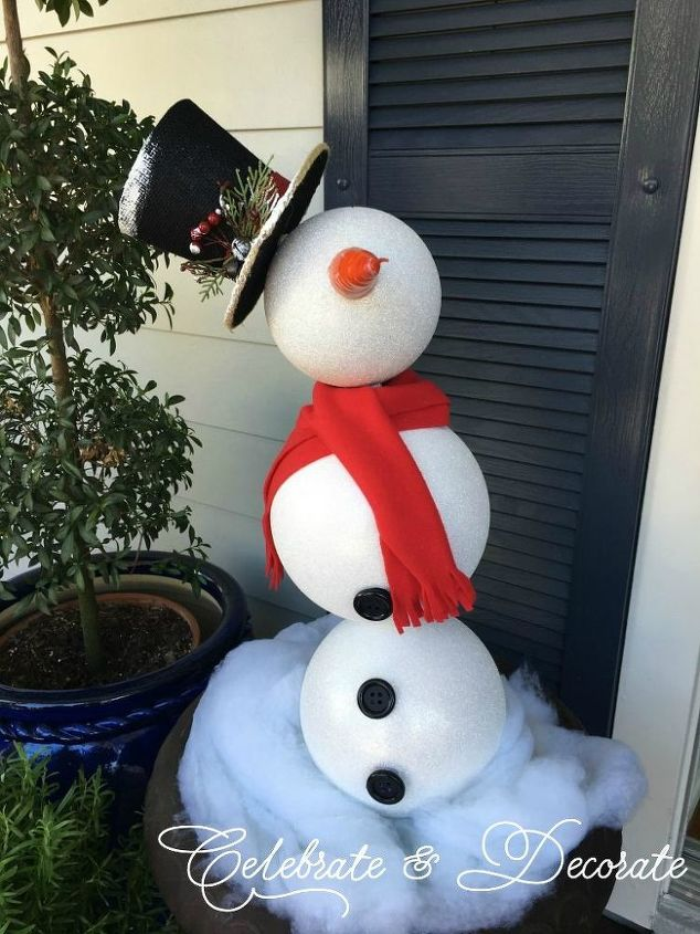 s 30 different ways to diy an adorable snowman this winter, Dress up oversized ornaments