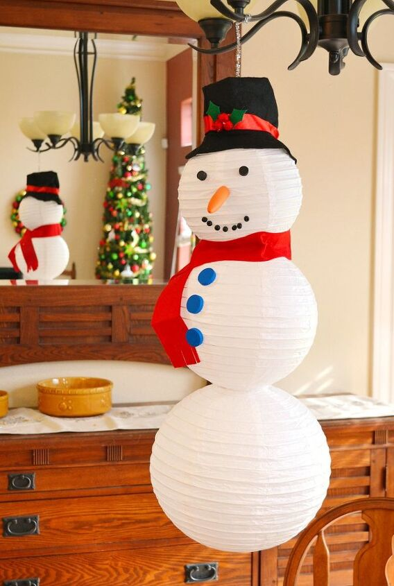 s 30 different ways to diy an adorable snowman this winter, Pick up a package of white paper lanterns