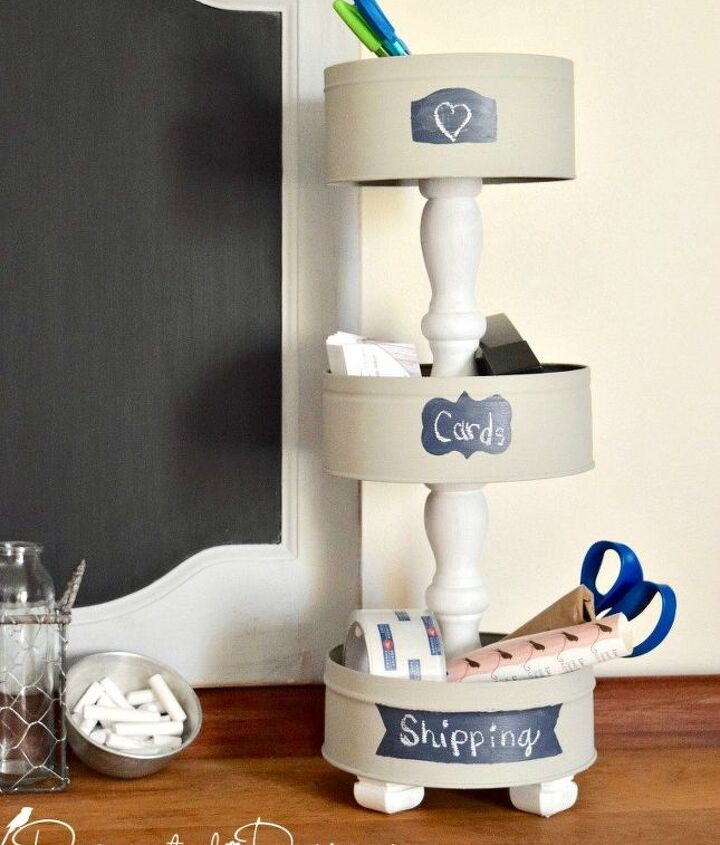 s the newest diy space saving storage ideas to keep your home organized, Cookie Tins Into A Tiered Stand