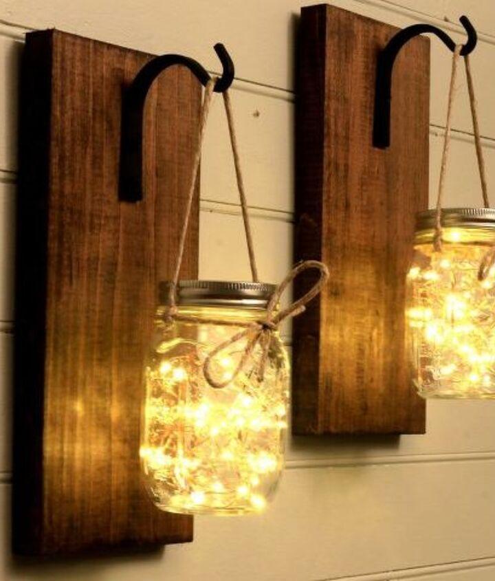 s the 25 most viewed mason jar projects on hometalk in 2017, Beautiful Mason Jar Sconce Decor