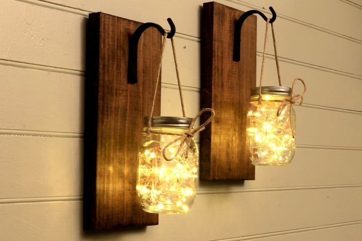 s the 25 most viewed mason jar projects on hometalk in 2017, Beautiful Mason Jar Sconce Decor