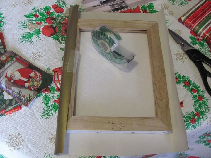 create christmas artwork using leftover wrapping paper