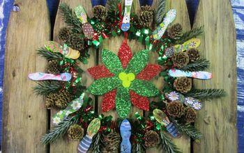 dollartree wreath upcycled christmas decoration