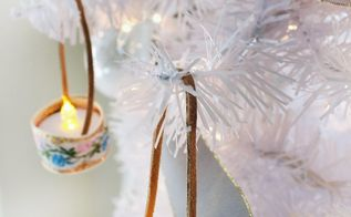 vintage ribbon tea light ornaments