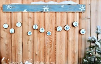 A Cheery and Bright Wood Slice Sign for Winter