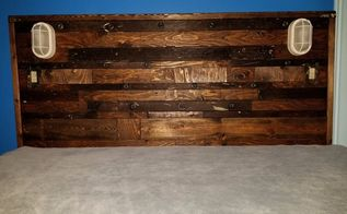 headboard made from recycled wood ladder