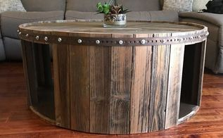 cable spool reclaimed fence wood coffee table