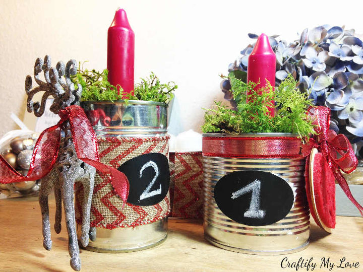 upcycled advent wreath from recycled tin cans