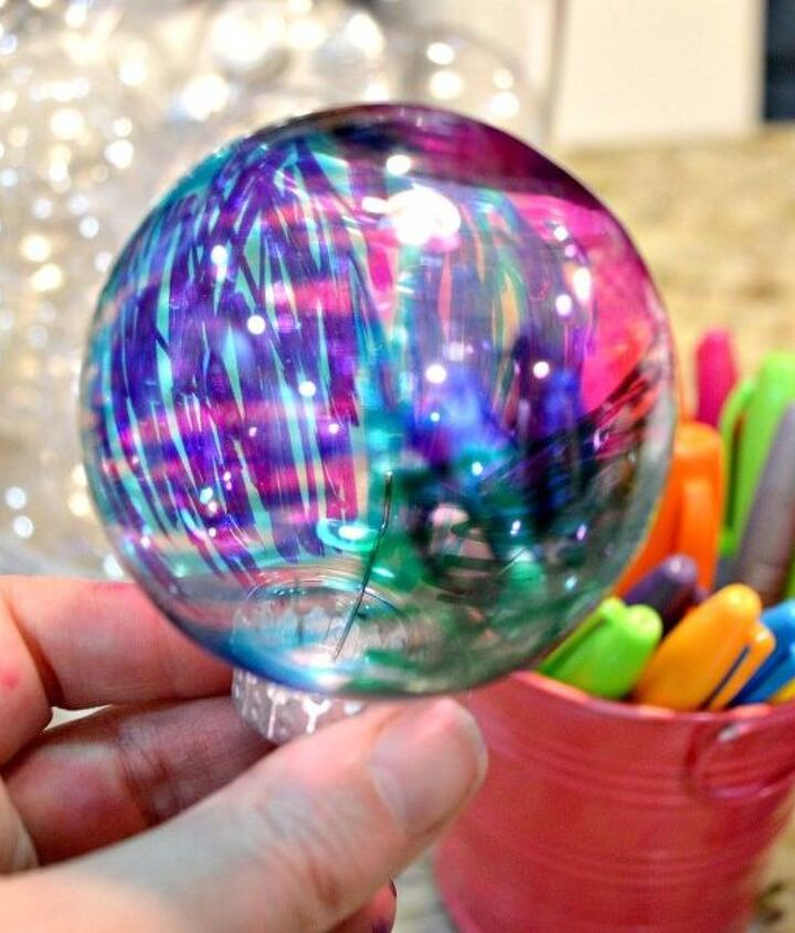 diy sharpie marbled ornaments