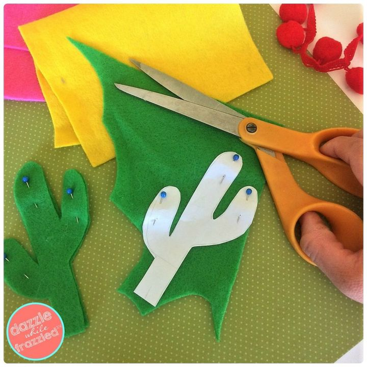 Use paper template to cut cactus from felt