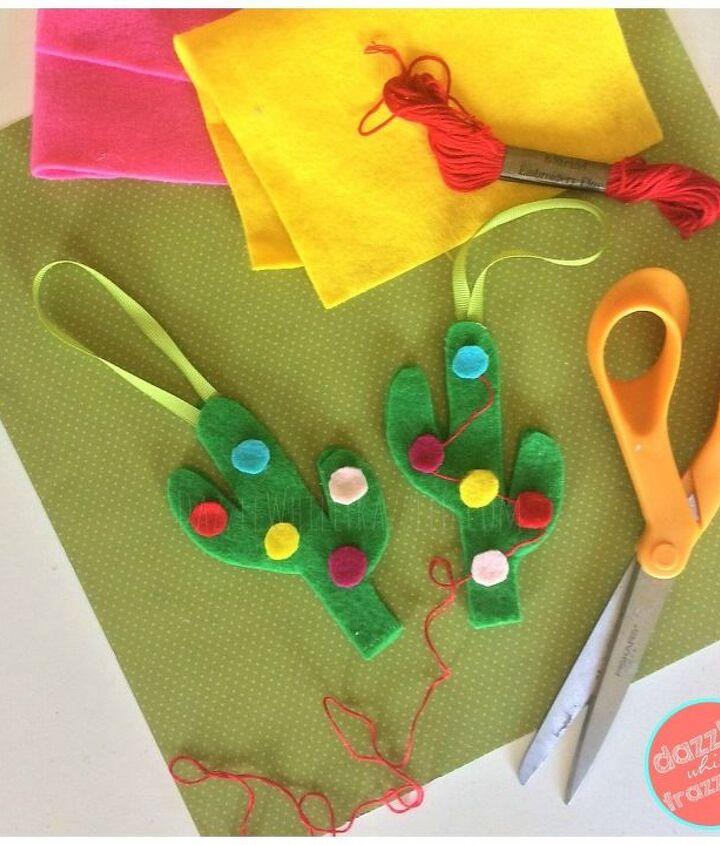 Add felt ornaments, embroidery thread garland