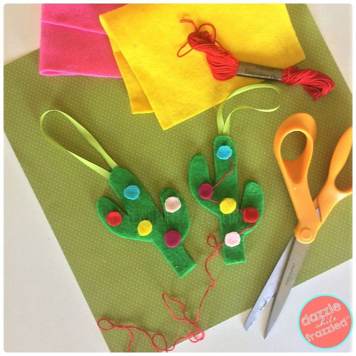 Add felt ornaments, embroidery thread garland