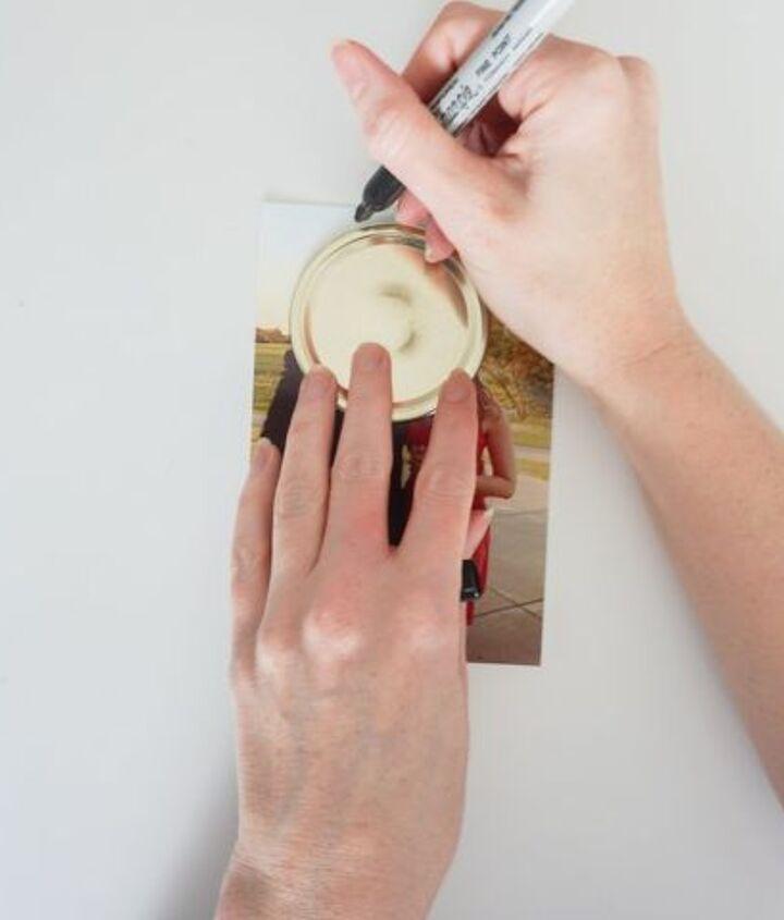 upcycle mason jar lids into photo magnets