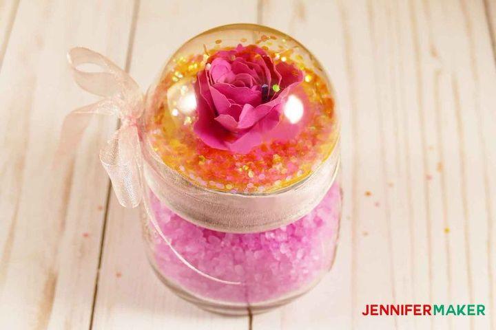 s how a little bit of glitter can go a long way, Glitter Globe Atop a Mason Jar