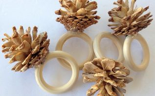 bleached pinecones napkin rings and more