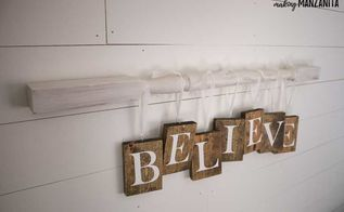 believe christmas sign on vintage spindle