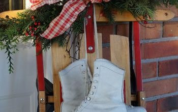 sprucing up the front porch with holiday greens