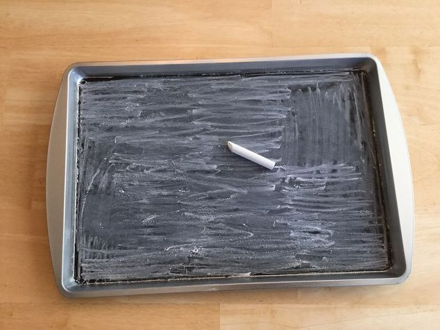 s 3 great projects to flip your cookie sheet pans, Step 4 Season the paint with chalk