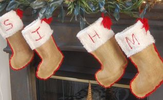 recycled wedding decor made into christmas stockings and ornaments