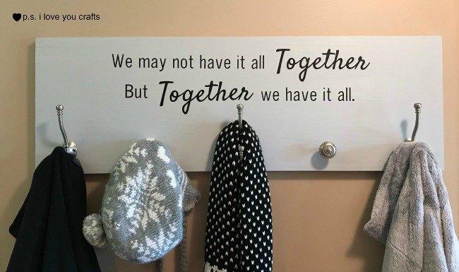 diy coat rack with inspirational saying