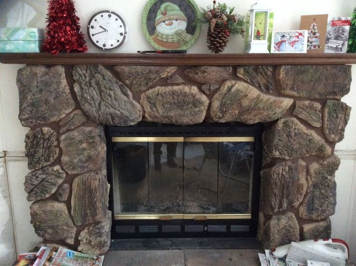q i have a dark faux stone fireplace how can i make it brighter in grey