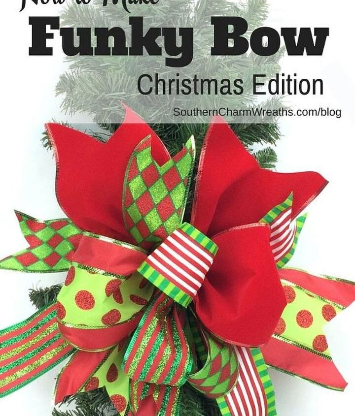 s use ribbon to decorate for christmas with these last minute ideas, Funky Bow From Scraps Of Ribbon