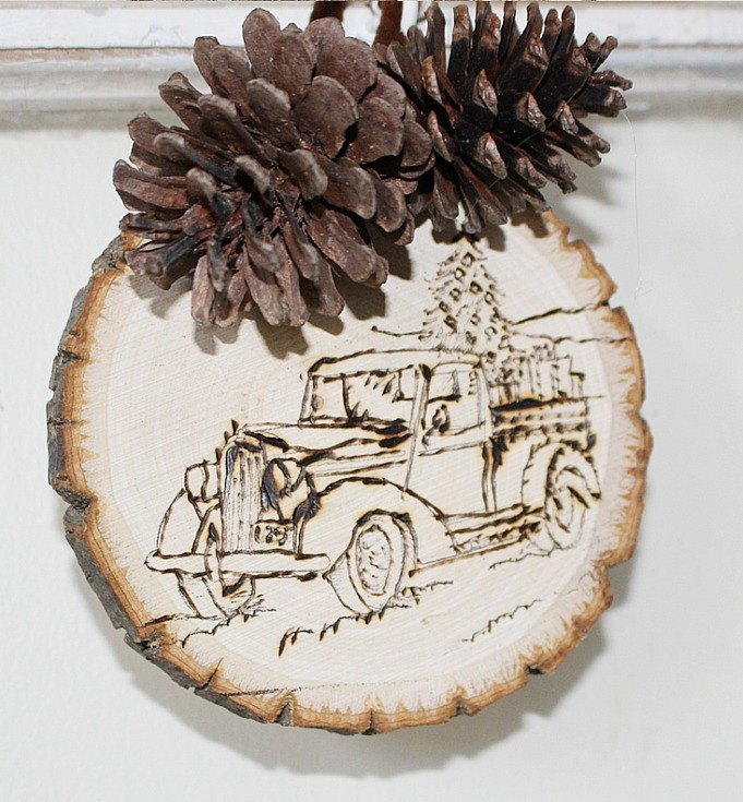 diy farmhouse style christmas ornament wood burning